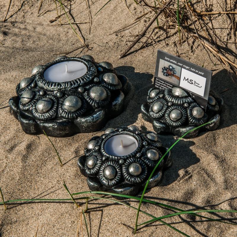 Zeeuwse Knop 3set Zwart - Zilver